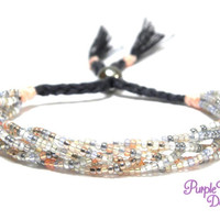 Braided Seed Beads Bracelet, Beaded Bracelet with Braids and Stainless Steel Bead - Grey/White/Rose