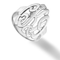 Designer Personalized Initials Ring (Order Any Name) Sterling Silver