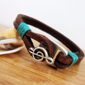 FREE SHIPPING - Men's Leather Bracelet, Men Leather Bracelet. Brown Leather Men's Bracelet, Mens gift, Men Bracelet, Music Anchor Charm