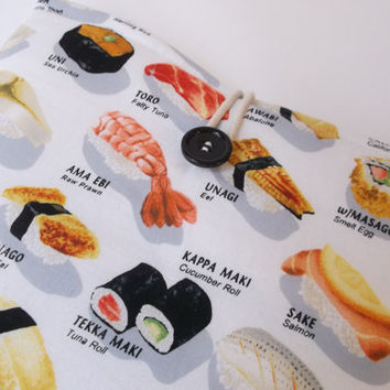 Sushi Macbook Pro 13 Case, Kawaii Laptop Bag, Mac Book Pro Sleeve, Retina Display, Japanese chopsticks