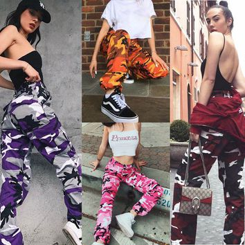 Fashion Womens Camo Cargo Trousers Casual Pants Military Army Combat Camouflage Jogger Pants Dropship