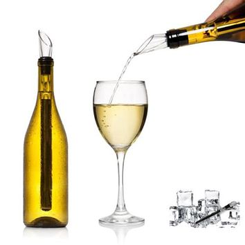 Stainless Steel Ice Wine Chiller Stick With Wine Pourer Wine Cooling Stick Cooler Beer Beverage Frozen Stick Ice Cooler Bar Tool