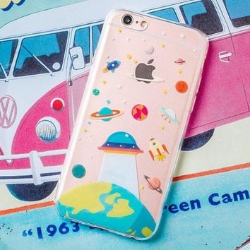 New Hot Cute UFO Astronaut Spaceship iPhone 7 6 6s Plus Case Cover + Gift Box-170928