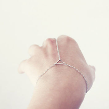Triangle hand chain - delicate geometric jewelry