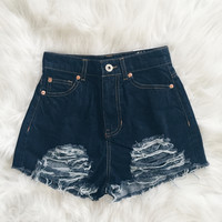 Kenzie Distressed Denim Shorts (Dark Wash)
