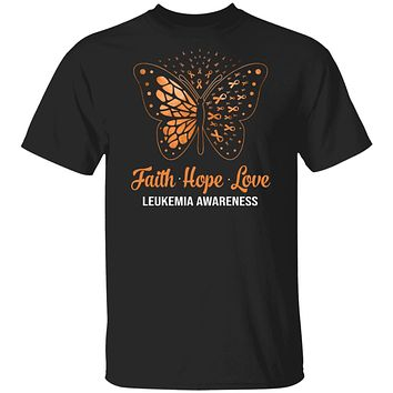 Faith Hope Love Orange Butterfly Leukemia Awareness