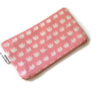 Elephant Zipper Pouch - Kawaii Zipper Wallet - Cute Coin Purse - Small Cosmetic Bag - Pink Wallet - Tiny Elephants - Daiwabo Japan Fabric