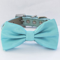 Sky ,Blue Dog Bow Tie -Chic and Elegant Bowtie with high quality leather collar-Something blue