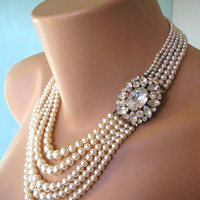 Pearl Necklace Mother of the Bride Great Gatsby Jewelry Statement Necklace Pearl Choker Wedding Necklace Bridal Jewelry Art Deco