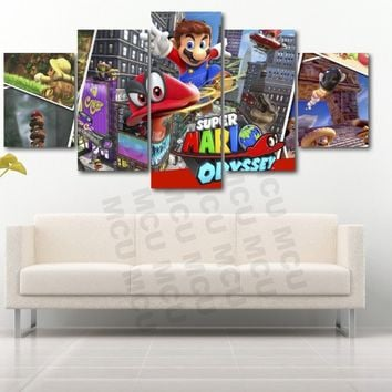 Super Mario Brothers Odyssey Video Game Canvas Five Piece