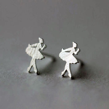 Girl Dancer Stud Earrings, Sterling Silver Dancer Earrings, Girl earrings, Girl stud Earrings,gift for her,Ballet earrings,girl jewelry