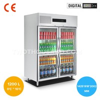 Glass Door Reach in Refrigerator, Digital Control, 1200 L, 0 ~ 10 ℃, R134a, CE, TT-BC365I