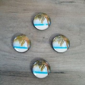 Set of 4 Glass Palm Tree Refrigerator Magnets Beach Coastal Kitchen Home Decor