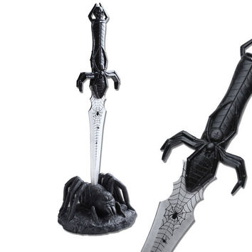 16 Inch Fantasy Black Spider Handle Fixed Blade Knife with Poly Resin Display Stand