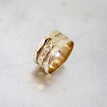 Victorian Gold Wedding Band Ring. 9K Rose Gold Forget Me Not Floral Engraved Ring. Antique Wide Cigar Band Ring.