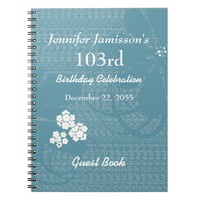 103rd Birthday Party Guest Book Blue, White Floral