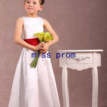 Satin scoop neck line with red sash flower girl dress