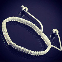 Instafashion — Mens Fashion Line Bracelet - White with UV Crystals