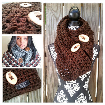 Chocolate Brown, Button Scarf, Chunky Scarf, Bohomian Scarf, Hippie Scarf, Gypsy Scarf,  Chunky Cowl  (7012AA003BT)