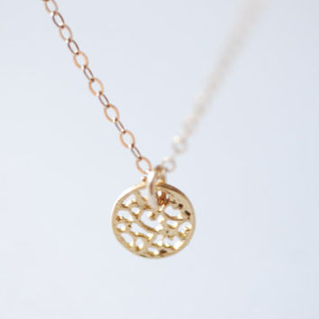 Gold Disc Necklace - Filigree Disc Necklace, Gold Dot Necklace- Dainty Necklace