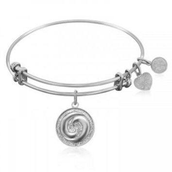 ac NOVQ2A Expandable Bangle in White Tone Brass with Yin And Yang Perfect Balance Symbol