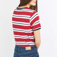 BDG Red Striped Boyfriend T-shirt - Urban Outfitters