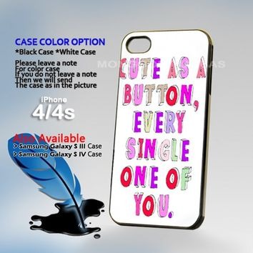 Cute as a Button Every, Photo On Hard Plastic iPhone 4 4S Case