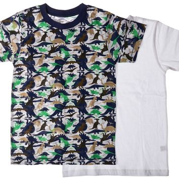 2-Pack Dinosaur Camoflage 100% Cotton Fashion Printed T-Shirts