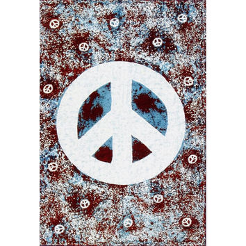 Blue Peace Sign Tapestry