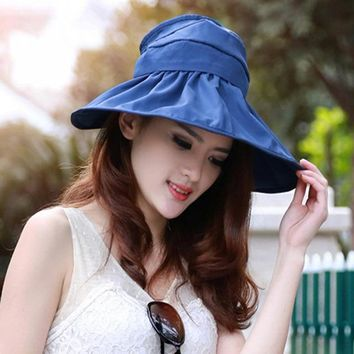 Women's Outdoor Camping Hiking Sunshade Sun Hats Solid Color Breathable UV Protection Wide Large Brim Caps Foldable Camping Hats