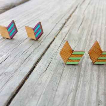 Chevron Earrings, Wood Chevron Arrows, Wood Earrings, Arrow Studs, Geometric Jewelry, Handpainted Earrings, Bamboo Earrings