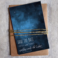 Save the Date: Under the stars, Outdoor Wedding, Navy & White, 4 x 6 double sided card