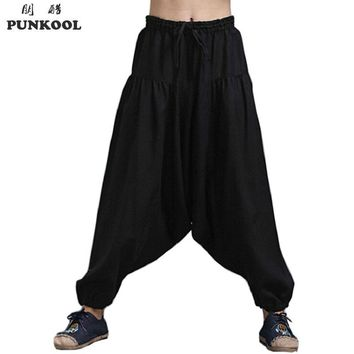 PUNKOOL Harem Pant Men Korean Style Baggy Hip Hop Trousers Loose Jogger Pants Sweatpants Personality Drop-crotch Pants