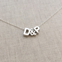 Tiny Personalized Uppercase Block Initials with Block '&' Charm in Silver with Sterling Silver Chain