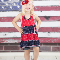 Red, White, and Blue Patriotic Headband - July 4 Baby Headband - 4th of July Headband for Girls - Metallic Red Flower Headband for Baby