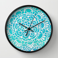 Aqua Turquoise Sparkle - Doodle pattern with aqua galaxy Wall Clock by Tangerine-Tane