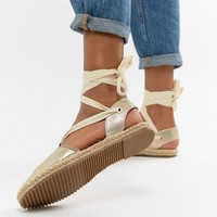 RAID Chrisy Gold Ankle Tie Espadrilles at asos.com
