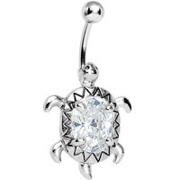 Crystal Clear Cubic Zirconia Sea Turtle Belly Ring | Body Candy Body Jewelry