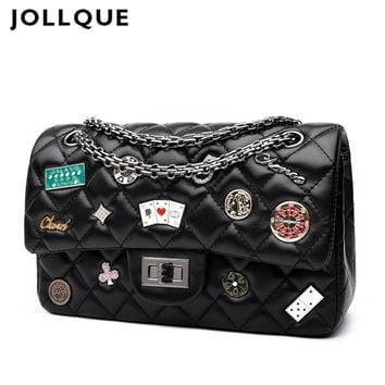 Jollque Vintage 2018 Small Crossbody Bag Women Messenger Bags Female Quilted Handbag Brand Shoulder Bag Flap Flower Bag 5