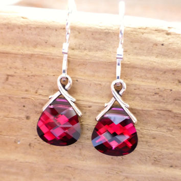 Ruby Red Swarovski Crystal Briolette Earrings, Garnet Magenta Red Crystal Sterling Silver Earrings, Valentines Day Gift, January Birthstone