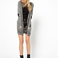 ASOS Boyfriend Cardigan With Star Elbow Patch at asos.com