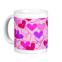 Cute Girly Pink Purple & Red Hearts Pattern Coffee Mug- Cute coffee mugs, girly mugs, Valentine's Day gift for girls, for teens
