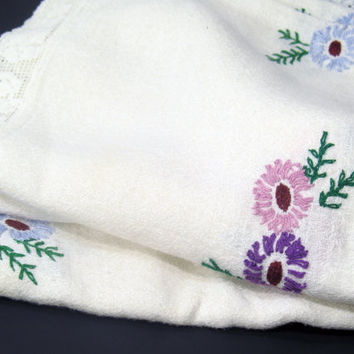 Tablecloth, White Embroidered Matelasse Cotton, Mauve, Rose, Pink, Blue, Lace Border