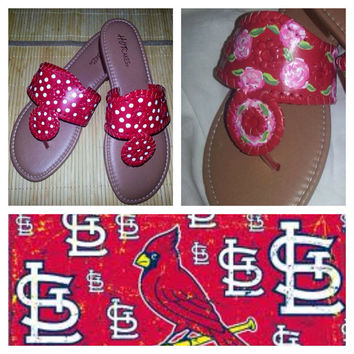 Hand painted sandals ... Perfect for St Louis Cardinal or Ohio State fan !