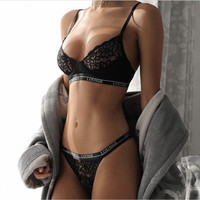 Lace Up Gauze Strapless Hollow Out Underwear Lingerie Set