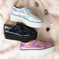 2017 BLACK FRIDAY-HOLOGRAM-AESTHETICS-TUMBLR HOLO SILVER CREEPERS