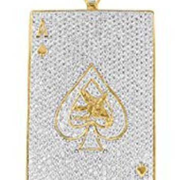 Ace Of Spades Pendant 14K Yellow Gold Finish Simulated Diamonds Iced Out Classy