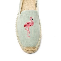 Soludos Flamingo Embroidered Espadrille in Light Chambray