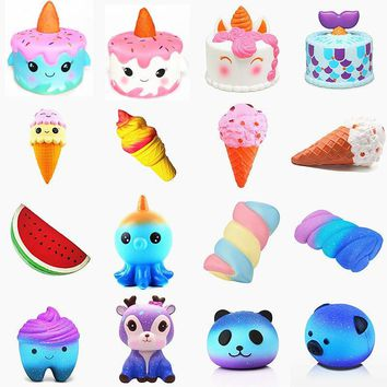 Galaxy Cute Kawaii Cartoon Deer big Squishy cat jumbo Toys Slow Rising Cream Scented Squeeze Toys Novelty Antistress Gift