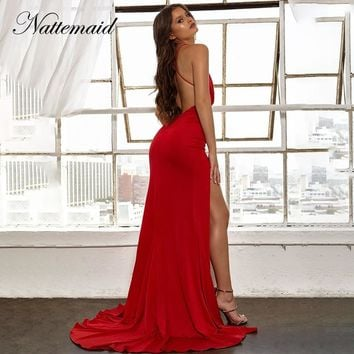 NATTEMAID Sleeveless Backless Criss Cross Dress Women Split V Neck Black Red Dress Elegant Maxi Long Sexy Summer Dresses Vestido